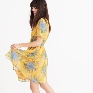 Madewell Sweetgrass RuffleSleeve Dress in Painted